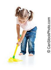 Little girl doing playing and mopping the floor - Child...