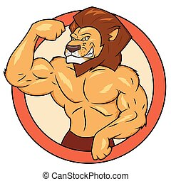 Muscular lion is posing - Illustration of the muscular lion...