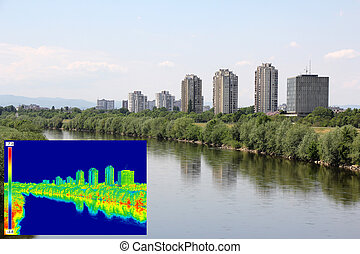 Infrared image panorama of Zagreb - Infrared thermovision...