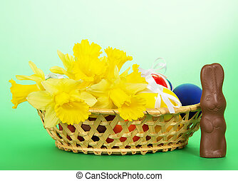 Easter eggs and flowers - Wattled basket with Easter eggs...