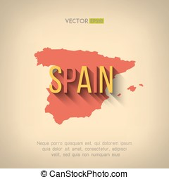 Vector spain map in flat design Spanish border and country...