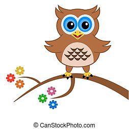 an owl on a branch with flowers