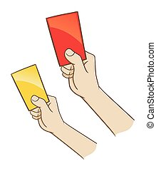 Hand Holding Red And Yellow Card - Vector illustration of a...