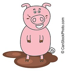 a pig standing in mud