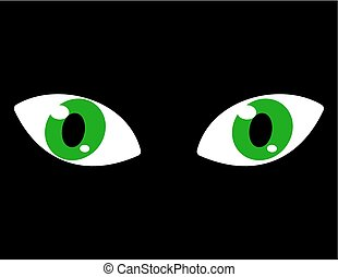green eyes on a black background