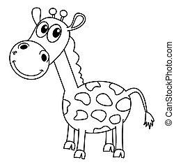 smiling black giraffe for coloring