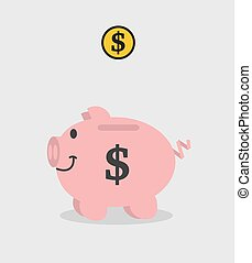 piggy bank pink dollar with piece o