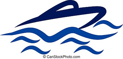 Logo Boat and waves - Vector cruise ship and waves symbol...