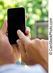 Man checking his phone background - Close up Image of man...