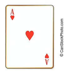 Ace Hearts - The playing card the Ace of hearts over a white...