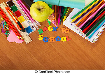 Pencils and paint with apple - Blank sheets, set of color...
