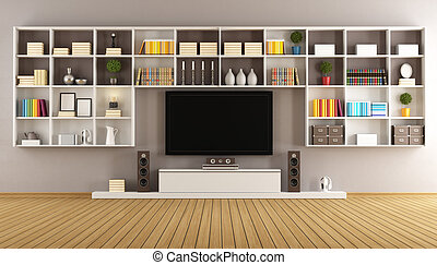 Modern lounge with bookcase and TV