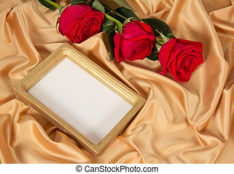 Photoframe with roses - Empty photoframe with three red...