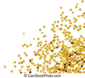 Golden confetti corner isolated on white background