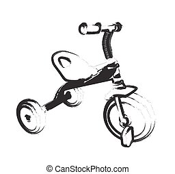 Children Bicycle with Three Wheels. Isolated on White...