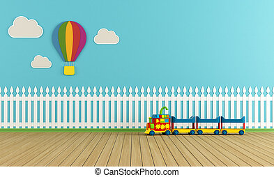 Empty colorful playroom - Empty child room with fence,clouds...