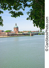 Riverbanks of Toulouse - View on the riverbanks of Toulouse,...