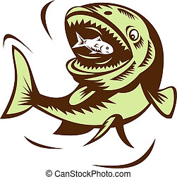 big fish eating a small fry - illustration of a big fish...