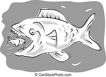 small fish swimming happily inside the mouth of big fish