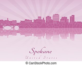 Spokane skyline in purple radiant orchid in editable vector...