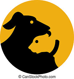 icon shown a dog and cat silhouette - illustration of a...