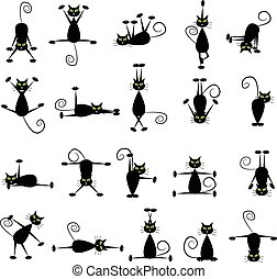 Set of black cats doing yoga and gymnastics.