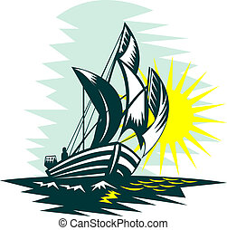 sailboat sailing on high seas with sun - illustration of a...