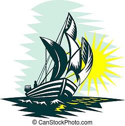 Barca vela, navigazione, alto, mari, sole