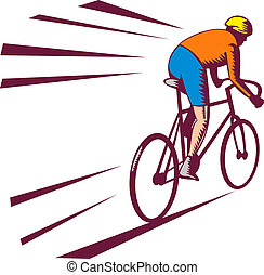 Cyclist racing on bicycle viewed from rear done in woodcut...
