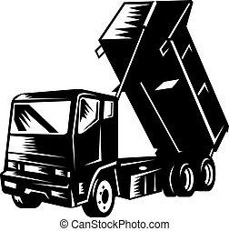 dump truck isolated on white - illustration of a dump truck...