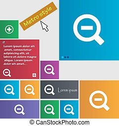 Magnifier glass, Zoom tool icon sign. Metro style buttons. Modern interface website buttons with cursor pointer. Vector