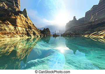 EMBRACE - Clear canyon river waters reflect the alien planet...