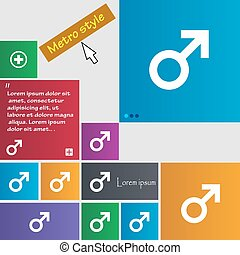 Male sex icon sign. Metro style buttons. Modern interface website buttons with cursor pointer. Vector