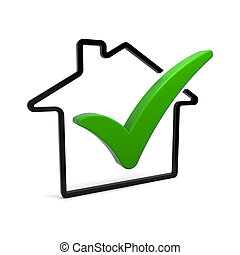 Check Mark - House symbol with green check mark