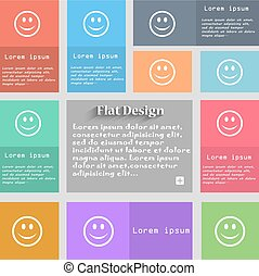Smile, Happy face icon sign. Set of multicolored buttons. Metro style with space for text. The Long Shadow Vector