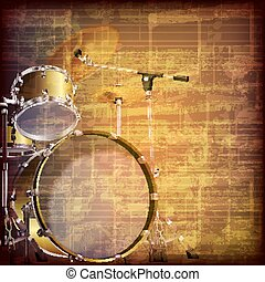 abstract grunge music background with drum kit - abstract...