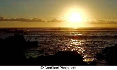 Sunset, Ile De La Reunion - 1080p, Sunset on a rocky beach,...