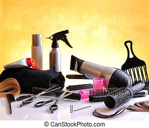 Set hairdressing articles on glass table horizontal...