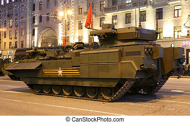 Russian weapons Rehearsal of military parade at night near...