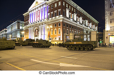 Russian weapons. Rehearsal of military parade (at night)...