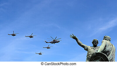 Russian military aircrafts fly in formation over Moscow...