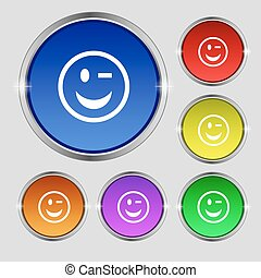 Winking Face icon sign. Round symbol on bright colourful...