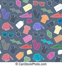 Seamless pattern of mens clothing items