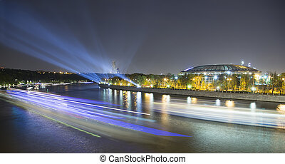 Embankment of the Moskva River and Luzhniki Stadium, night...