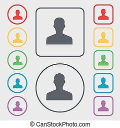 User, Person, Log in icon sign. symbol on the Round and square buttons with frame. Vector