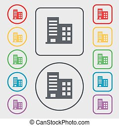 high-rise commercial buildings and residential apartments icon sign. symbol on the Round and square buttons with frame. Vector
