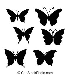 Butterfly set on white background. Abstract design. Vector...