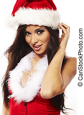 Portrait of beautiful brunette woman wearing sexy santa...