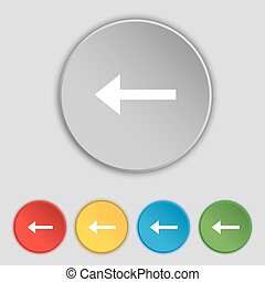 Arrow left, Way out icon sign Symbol on five flat buttons...