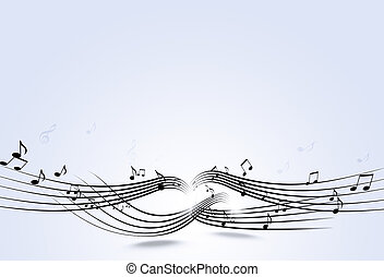 Music Notes - abstract music notes and blurry lights on...